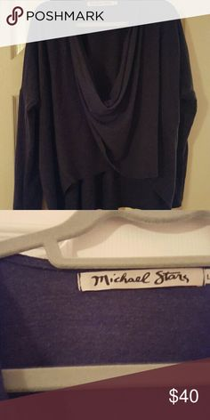 Michael Stars 1x1 Slub 2-way Convertible Top Large Perfect condition, can be worn front to back and vice versa, cross-body front and straight neck back, size Large but I wear a M usually and this fits nicely for both bc it's flowly and loose.  So adorable. Michael Stars Sweaters Crew & Scoop Necks