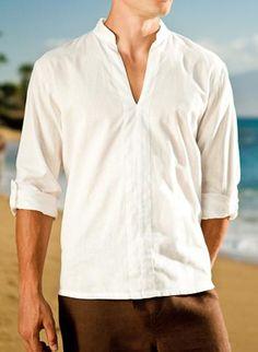 Mens linen oasis shirt, long sleeve, v-neck within awesome mens white linen White Linen Shirt, White Shirt Men, Linen Shirts, Long Sleeve And Shorts, Long Sleeve Shirts, Beach Wedding Attire, Beach Weddings, Wedding Outfits, Classy Men