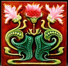 Unknown Maker, Belgium Art Nouveau Floral ca. Art Nouveau Tiles, Art Nouveau Design, Deco Design, Tile Design, Antique Tiles, Vintage Tile, Antique Art, Victorian Tiles, Vintage Art