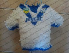 Canterbury Bulldogs NRL birthday pinata in the form of their rugby league playing jersey. - decorations. Lady makes and sells out of Cambelltown, NSW.