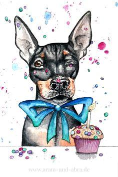 Illustration Geburtstags-Hund, Aquarell von Aram und Abra