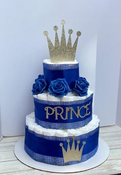 Royal Prince Baby Shower Diaper Cake 3 Tier Personalized Gold Crown Royal Blue Little Prince 67 Pamp - baby shower - Baby Shower Regalo Baby Shower, Idee Baby Shower, Baby Shower Baskets, Fiesta Baby Shower, Baby Shower Diapers, Baby Boy Shower, Baby Shower Gifts, Baby Shower Decorations For Boys, Boy Baby Shower Themes