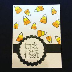 Lawn Fawn Trick of Treat Candy Corn Halloween Card.