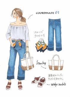 Instagramで今話題のファッションイラスト。大人気のイラストレーターSaekoさんが「今着たいユニクロアイテム」を使ったコーディネートを提案する連載、第4弾!今回は、夏にぴったりな今季の旬アイテム、オフショルダーブラウスを使った着回しコーデをご紹介します。「ハリのあるコットン素材で、カジュアルだけでなくきれいめアイテムとも相性が良いのがポイント。シンプルデザインなので、1枚でもレイヤードして... Japanese Outfits, Japanese Fashion, Korean Fashion, Cute Fashion, Fashion Art, Womens Fashion, Fashion Design, Stylish Outfits, Cute Outfits