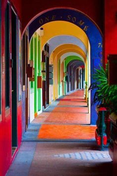 This reminds me of a hotel I stayed at in Antigua, Guatemala.  Its colors are a lot more faded than this... similar, though!