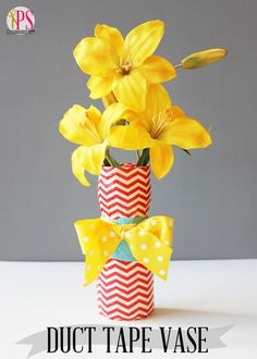 Make a new, bright, and cheery Duct Tape DIY Vase with an upcycled plastic container. This recycled craft idea lets your kids use their favorite duct tape prints and colors to make their own custom vase. Duct Tape Flowers, Diy Flowers, Flower Vases, Vase Crafts, Fun Crafts, Diy And Crafts, Amazing Crafts, Recycled Crafts, Decor Crafts