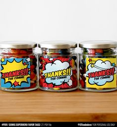 Comic-Superhero thanks tags, to decor your superhero party favors. You can also…