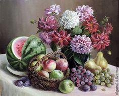 Купить Натюрморт с фруктами и георгинами - комбинированный, картина в подарок, картина, картина для интерьера, картина маслом