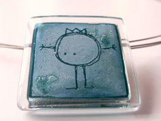 """Colgante vidrio y plata """"rey"""". Cordón incluido.  de BGLASSbcn por DaWanda.com"""