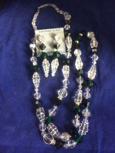 "Vintage Set Clear Green Jet Cut Crystal Bead Necklace 39"" Pierced Earrings New"