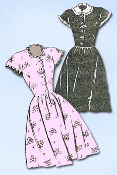1940s Vintage Mail Order Sewing Pattern 2135 Uncut Misses WWII Day Dress Sz 32 B