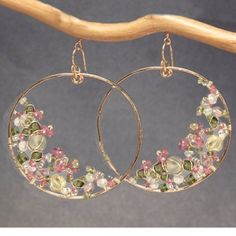 Hammered hoop earrings pink tourmaline pink by CalicoJunoJewelry Wire Jewelry Earrings, Silver Hoop Earrings, Gemstone Earrings, Crystal Earrings, Beaded Jewelry, Jewelery, Bridal Jewelry, Gold Earrings For Women, Bijoux Fil Aluminium