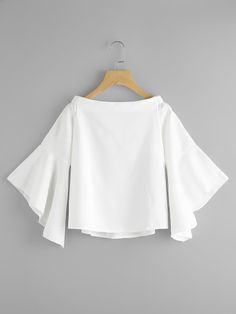 Boat Neckline Trumpet Sleeve Blouse -SheIn(Sheinside) Happy relationships are… Teen Fashion Outfits, Mode Outfits, Casual Outfits, Fashion Dresses, Casual Wear, Stylish Tops, Trendy Tops, Blouse Styles, Blouse Designs
