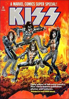 Own a piece of Kisstory! Up for bid are the 2 Kiss marvel super special comics from the All pages and posters are there. Comic No. 1 cover came off the staples but is intact (see photo) and comic No. 2 is in very good condition. Heavy Metal, Music Covers, Album Covers, Rock N Roll, Eric Singer, Banda Kiss, Kiss Merchandise, Marvel Magazine, Kiss Rock Bands