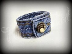 Recycled denim cuff designed upcycled women's by TwiceStitched, $8.00