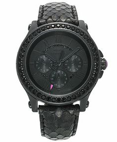 Juicy Couture Watch, Women's Pedigree Black Iridescent-Embossed Leather Strap 38mm 1901064..thinking a black watch will be my next one