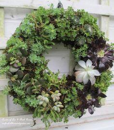 Beautiful succulent wreath - part of this beautiful garden tour…