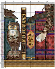 Даже если вы не умеете вышивать, вы просто обязаны взять в руки иглу, канву, мулине и вышить невероятно красочную картину Кот в библиотеке (Frederick...