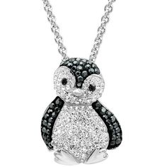 Sterling Silver Black and White Crystal Penguin Pendant-Necklace with... ($50) ❤ liked on Polyvore featuring jewelry, necklaces, swarovski crystal jewelry, sterling silver crystal pendant, pendants & necklaces, chain necklace and crystal pendant