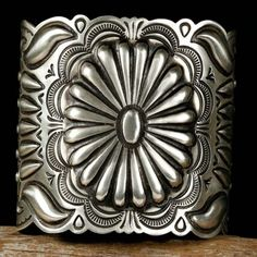 """Silver Gatoh"" Cuff ... By Navajo Silversmith , Arnold Blackgoat"