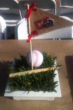 Baseball theme centerpieces for my best friends baby shower!