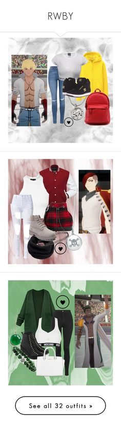 """RWBY"" by princesselesa ❤ liked on Polyvore featuring Topshop, Uniqlo, Annika Rutlin, DC Shoes, modern, BERRICLE, Barneys New York, Helmut Lang, Timberland and Moschino"
