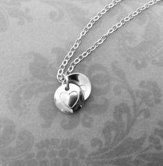 Tiny initial locket style necklace dainty silver monogram by 7PMboutique
