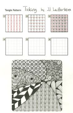 Ticking by JJ La Barbera. This is starts out like a single line of Bales (original Zentangle Pattern) and then deviates from there/ Nice fill pattern. NOTE: Find the example tile's Flower Pattern (ARC) under the How-To: Zentangle Flowers and Nature Folder