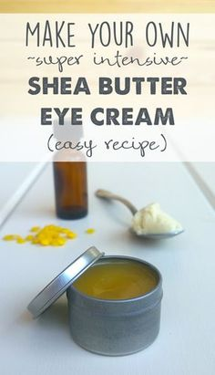 Make your own luxurious eye cream with this all-natural recipe. Many expensive eye creams contain ingredients that don't even work!make-your-own-super-intensive-shea-butter-eye-cream-recipe Homemade Skin Care, Homemade Beauty Products, Diy Skin Care, Skin Care Tips, Homemade Eye Cream, Homemade Facials, Skin Tips, Homemade Facial Moisturizer, Beauty Care