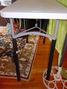 "a Mused Studio: Craft Booth Table HeightCraft Booth Table Height  The standard table is great for sitting at but it's an awkward height for displaying your work. People have to sort of bend over. I found this excellent solution to rising your table height. Roll out the pvc again! I cut pvc pipes to 24"" lengths and slid them over the table legs.  The tables are now at a comfortable height for people browsing in my booth!"