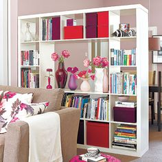 Separate rooms visually while increasing your storage capacity with a freestanding bookcase.