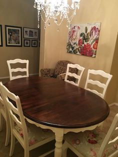Diy chalk painted kitchen table and reupholstered chairs! Save money and refurbish furniture! Diy chalk painted kitchen table and reupholstered chairs! Save money and refurbish furniture! Painted Kitchen Tables, Kitchen Chairs, Dining Room Table, Table And Chairs, Kitchen Decor, Dining Chairs, Painted Tables, Kitchen Taps, Painted Wood