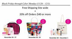 Avon Black Friday- Cyber Monday Deals 11/26-12/1 #avon #avonproducts #blackfriday2015 #blackfriday #cybermonday2015 #cybermonday #shop #online #holiday #gifts #free #freewithpurchase #bags #totes #makeup #monicahertzogleader @monoandstuff www.youravon.com/monicahertzog