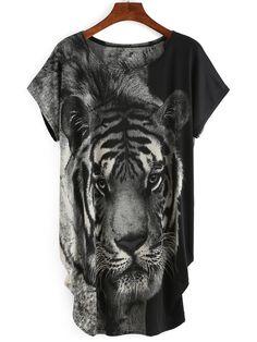 Shop Black Tiger Print T-shirt Dress online. SheIn offers Black Tiger Print T-shirt Dress & more to fit your fashionable needs.