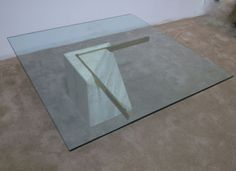 Mid Century Modern Travertine Glass Top Coffee Table