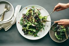 """Winter Greens & Crispy Quinoa Salad via Sprouted Kitchen. As soon as I read """"crispy quinoa"""" I started craving this. Tacos Vegan, Winter Salad Recipes, Summer Recipes, Crispy Quinoa, Quinoa Rice, Quinoa Salat, Lemon Yogurt, Vegetarian Recipes, Healthy Recipes"""