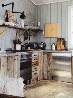 Love this reclaimed wood kitchen