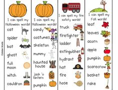 Fall words for writing