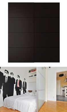 Garage Door Ikea door turned into studio apartment wall. And I love that decal. Reservoir dogs would actually be pretty badass Studio A. Studio Apartments, Studio Apartment Design, Studio Apt, Ux Design, House Design, Apartment Walls, Apartment Living, Ikea Pax Doors, Small Appartment