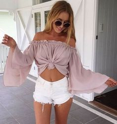 #summer #outfits / pink bell sleeve crop top
