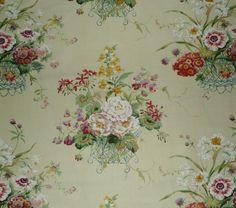 Colefax and Fowler Floribunda Union Yellow Print Linen Cotton Nylon 2 Yards New   eBay