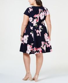 Jessica Howard Plus Size Floral-Print A-Line Dress - Blue Plus Size Dresses, Blue Dresses, Dresses For Work, Daytime Dresses, White Midi Dress, Plus Size Activewear, Review Dresses, Dresses With Leggings, Dress Making