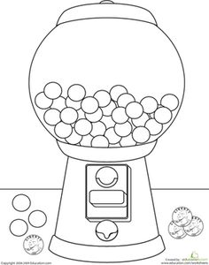 Printable Gumball Machine for color matching with craft
