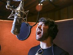 Photo 1 of 9 | School of Rock headliner Alex Brightman strikes a rock star pose in the recording booth. | Exclusive Photos! Step Into the Recording Studio with Alex Brightman and the Cast of School of Rock | Broadway.com