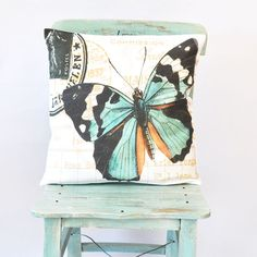 Butterfly Cotton Pillow, Turquoise Decorative Pillow, Throw Pillow, French Pillow Cover, Cushion Cover, Shabby Chic