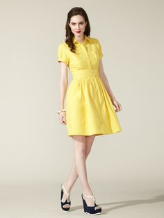 Moncollet Belted Cotton Shirt Dress -- love the Mad Men feel of this dress!