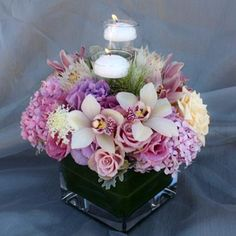 Pink Hydrangea and Orchid Centerpiece
