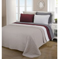 Could be a great base for a layerd bed...burgandy or taupe...add a patterned blanket or 2 and pillows. Comes in twin xl. Simple Elegance McKinley Cobblestone Cotton 3-piece Quilt Set