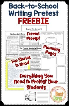 Are you looking for an easy way to assess your students in the days of high stakes testing in writing!  Here is everything you need to pretest your students in the first weeks of school-and it is FREE!  A formal prompt, two stories (plus add an oral reading as a third), planning pages, note taking guide, and cute writing paper is found inside this product!  Grab this FREEBIE now at The Best Days!  While you are there, check out my other writing prompts listed in the description!