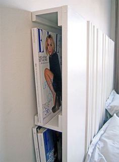 IKEA: The Ribba picture ledge attached to a headboard provides another place for your reading material. The Ribba picture ledge attached to a headboard provides another place for your reading material. Ribba Picture Ledge, Picture Shelves, Mosslanda Picture Ledge, Picture Frame, Diy Headboards, Headboard Ideas, Diy Storage Headboard, Bookshelf Headboard, Storage Hacks